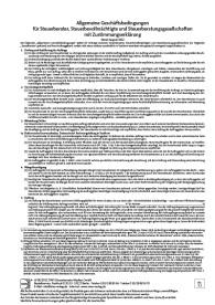Allgemeine Geschäftsbedingungen für Steuerberater, Steuerbevollmächtigte und Steuerberatungsgesellschaften mit Zustimmungserklärung
